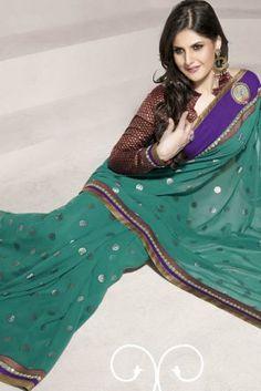 Green Poly Georgette Designer Saree