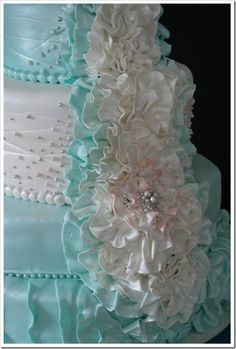 Tiffany Blue Reception Cake.  I haven't gotten tired of looking at it yet, the color is just...pretty.  #weddingcake #cake