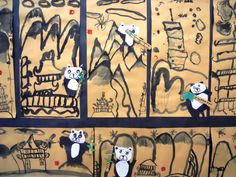 2nd Grade Chinese Landscape Paintings, with Collage Pandas. art club, art lessons, art project, art movemen, collag panda, chines art, art room, chinese art, art pictures