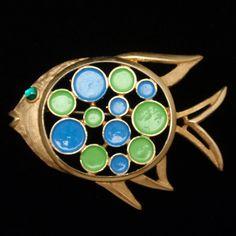 Polka Dot Fish Pin Vintage Enamel Brooch via Etsy