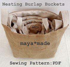 burlap bucket, coffee sacks, basket, burlap bags, storage bins, baby shower gifts, coffee bags, baby showers, sewing patterns