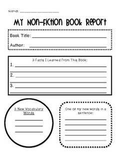 Non-Fiction Book Report Organizer (individual out of my non-fiction graphic organizer pack)