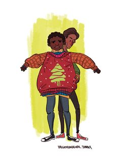 Troy and Abed wearing sweaters!
