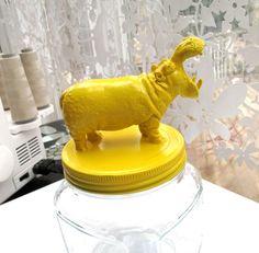 figurine, hot/super glue, spray paint, jar