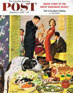 """""""Doggy Buffet"""" By Richard Sargent. Issue: January 5, 1957. ©SEPS."""