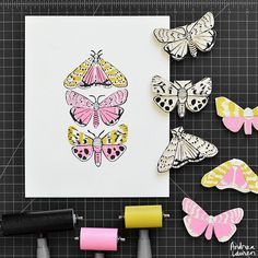 Andrea Lauren (@inkprintrepeat) | Afternoon carving and printing these speckled moths in three colors.  Adding more of these original block prints to my shop--link in profile. | Intagme - The Best Instagram Widget