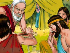 Free Bible illustrations at Free Bible images of Abraham entertaining three strangers and pleading with the Lord over the impending destruction of Sodom and Gomorrah. (Genesis 18): Slide 4