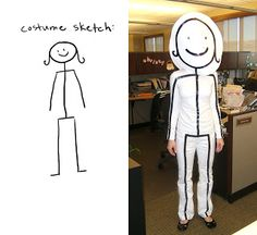 DIY Stick Figure last minute halloween costume - white clothes with black electrical tape and a cardboard head   ||  creatively christy: Halloween Costume Collection