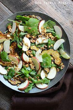 Harvest Kale Salad with Roasted Acorn Squash, Toasted Hazelnuts, and Apple-Cinnamon Vinaigrette #Recipe {Plus Let Them Eat Kale Cookbook #Giveaway}