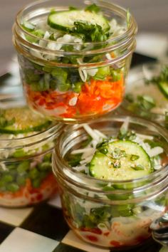 Individual Pea Layered Salad in a Jar or layer in a giant bowl. Delicious! reluctantentertainer.com