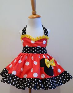 Dress I'm ordering for Natalia's 1st bday party...Minnie Mouse Red and Yellow Sweetheart Halter by FunUpTownGirls, via Etsy.
