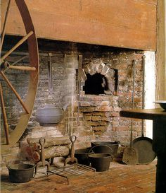 Kitchen of the Coffin House in Newbury,Massachusetts coffin hous, fireplac, kitchen, hearth