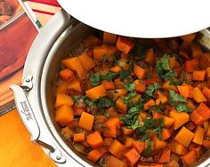 Sweet Potato & Butternut Squash Tagine, colorful vegetables married with Morroccan spices, cooked in a tagine or shallow casserole to serve tableside. Vegan. For Weight Watchers, #PP4. #AVeggieVenture