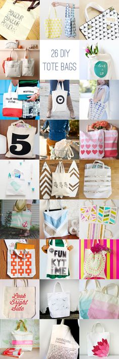 26 DIY Tote Bag Ideas with links to tutorials! I'll be glad I pinned this