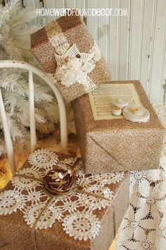 Vintage-Inspired gift wrap ideas from HOMEWARDfound Decor