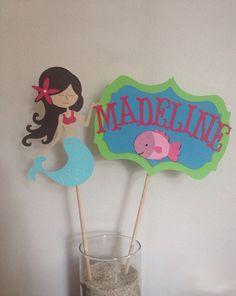 2 Mermaid & Name Centerpiece Stick Under the sea by MiaSophias, $5.00