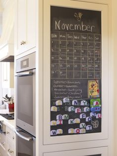 Current kitchen--turn chalkboard wall into a calendar