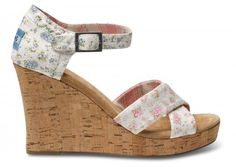 Shabby Chic TOMS Strappy Wedges // the product of a flowery collab //  www.TOMS.com/shabby-chic