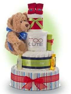 """ Too Cute"" says it all. Parents take such a long time to find the right name for the new baby -why not pick the diaper cake that recognizes the new lad by name. Only $94.00"