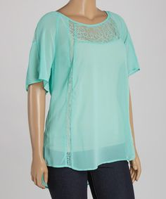 This Aqua Lace Scoop Neck Top - Plus is perfect! #zulilyfinds