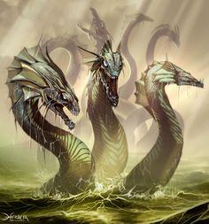 water, fan art, fantasi, sea creatures, seas, dragon, monsters, greek mythology, hydra