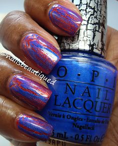 OPI DS Luxurious and OPI Blue Shatter.  I love blue and orange