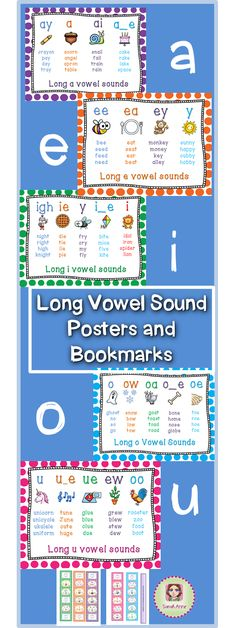 Long Vowel Sound Poster Bundle includes 28 posters and 5 bookmarks representing all long vowel sounds with picture for each sound to cater for visual learners. With additional 'çompact' set of 5 posters.  Each bookmark includes all spelling patterns that makes the long vowel sound. This resource supports CCSS ELA-RF K.2, K.3, 1.2, 1.3, 2.3 Enjoy! Sarah Anne :) #tpt #sarahanne #longvowel #vowelsounds #commoncore #ELA