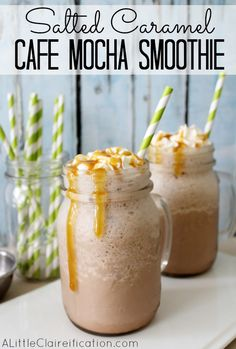 Salted Caramel Cafe Mocha Smoothie  at ALittleClaireification.com  #Recipe #breakfast