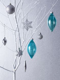 Ornaments are the ultimate holiday decoration and work beyond the Christmas tree. Just stick to one color palette.