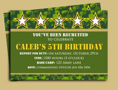 Perfect for any camo party, army, military, or hunting birthday party