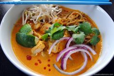 Thai Curry Chicken Noodle Soup (Khao Soi) - Foxes Loves Lemons