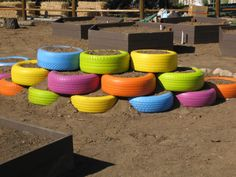 Tire Planters - from this site: http://olivewoodgardens.org/about/gallery/contruction-photos/