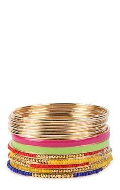 Deb Shops Skinny Bangles Set with Mixed Beads