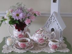 Rose Chintz Cottage: Tea Time Tuesday and Marty's Cloche Party  Love this blog!