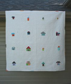 Really cute little house quilt.