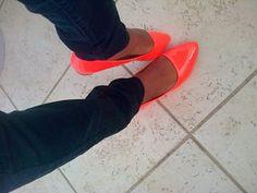 Neon orange flats