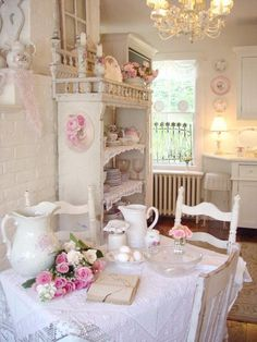 dining areas, shabby chic cottage, shabbi chic, cottage decorating, shabby chic design, pink, country kitchens, tea, shabby chic kitchen