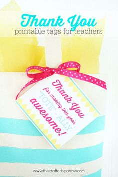 Printable Teacher Thank You Tags for a tote bag gift. thecraftedsparrow.com