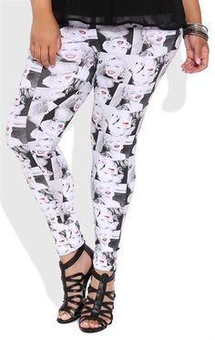 Deb Shops Plus Size Leggings with Marilyn Monroe Print