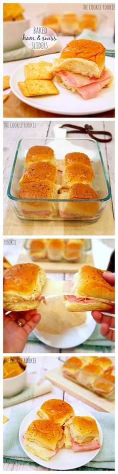 Baked Ham & Swiss Sliders with Honey Dijon and Poppyseed Dressing. SO EASY AND GOOD. love these {The Cookie Rookie}