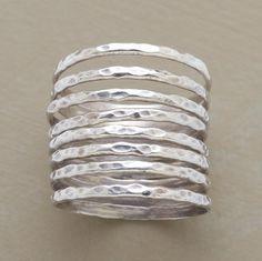 Hammered sterling silver bands