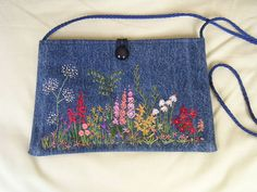 GARDEN FLOWERS - HAND EMBROIDERED BAG (think I will use ribbon embroidery)