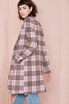 cute fall coat / Pink Plaid Coat