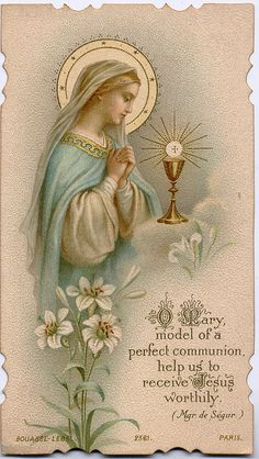 """Behold, your mother"" (Jn 19:26-27).  ""O Mary, model of a perfect communion, help us to receive Jesus worthily."" - Monsignor de Segur.  This sums up perfectly the role of the Eucharist and the role of Mary in our salvation:  in that Mary is the type of the Church.  Like Mary, we are to say ""yes"" to God (he called, she answered).  Like Mary, we are to receive Jesus-- we are to allow Jesus to dwell in us, and our bodies are meant to be tabernacles;  temples of the Holy Spirit.  To want to recei..."