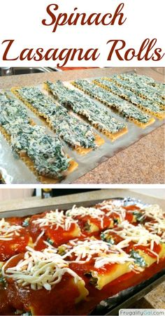Easy recipe for spinach lasagna rolls. Freezes really well! Via www.frugalitygal.com
