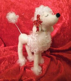 Snooty Poodle White with Red Bows and Diamond by MelaniesMenagerie
