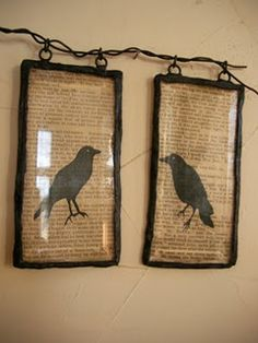 good display idea for barbed wire - good for halloween/ rustic decor/print