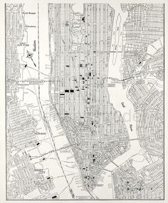 lower Manhattan 1942 - bw, draft like map