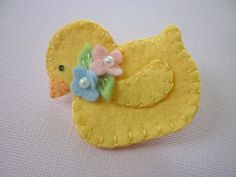 Easter Felt Brooch Yellow Duck brooch yellow, brooches, felt wool, easter, felt chick, yellow ducks, beads, felt brooch, felt duck