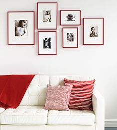 Easy #decorating #tip: Give vintage portraits a modern feel with matching frames in one bold hue.